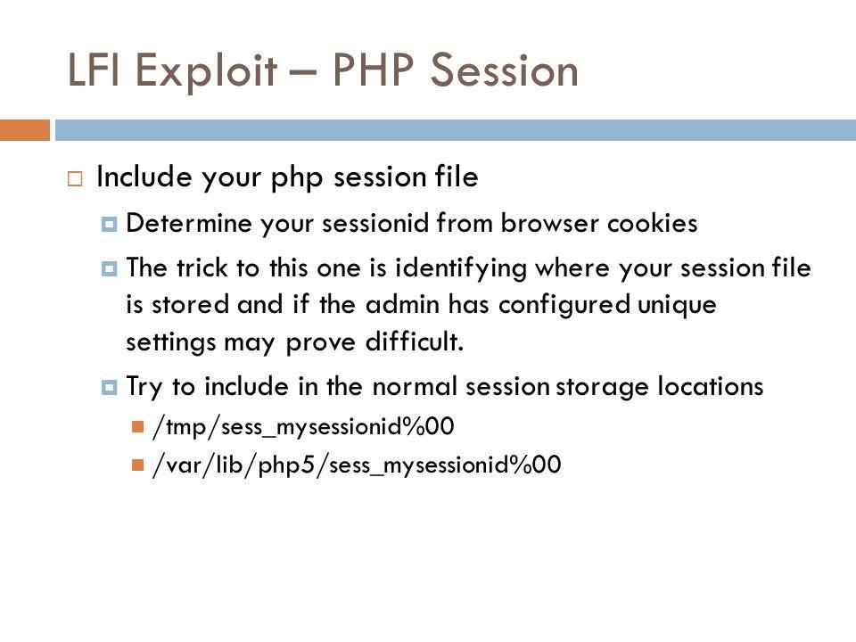 LFI Exploit – PHP Session