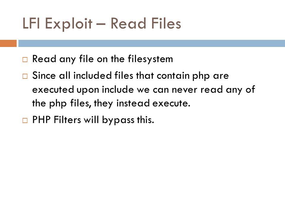 LFI Exploit – Read Files