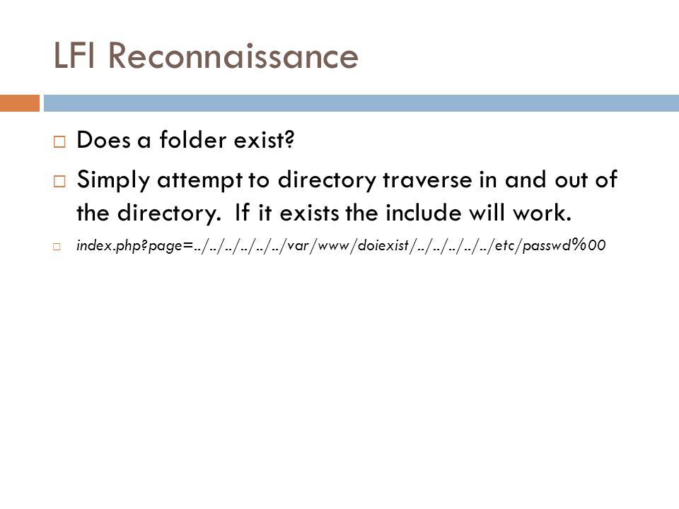 LFI Reconnaissance Does a folder exist