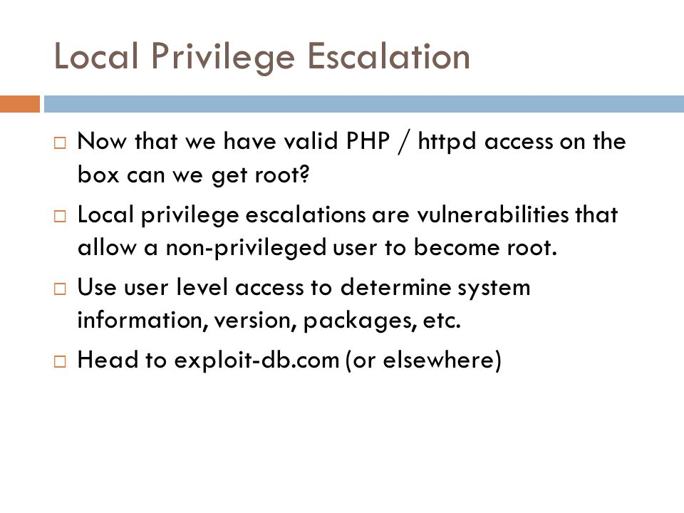 Local Privilege Escalation