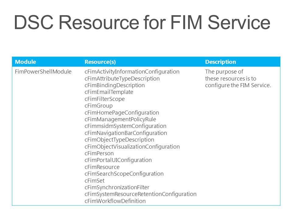 DSC Resource for FIM Service