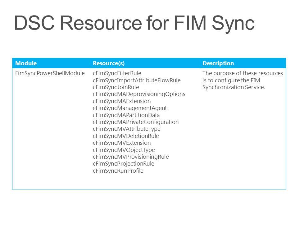 DSC Resource for FIM Sync