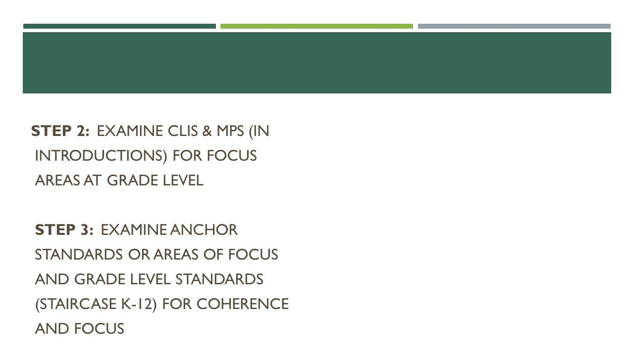 Step 2: Examine CLIs & MPs (in introductions) for focus areas at grade level Step 3: Examine Anchor Standards or Areas of Focus and grade level standards (Staircase K-12) for coherence and focus