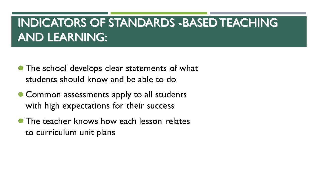 Indicators of Standards -Based Teaching and Learning: