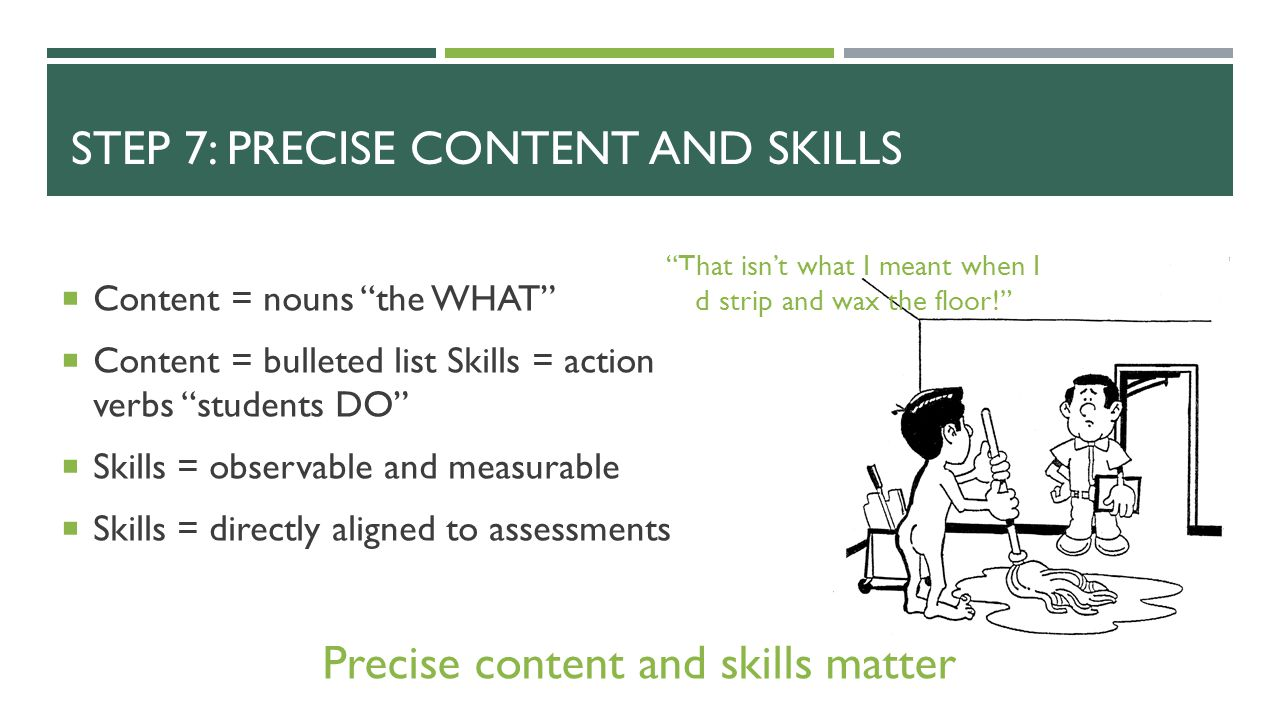 Step 7: Precise content and Skills