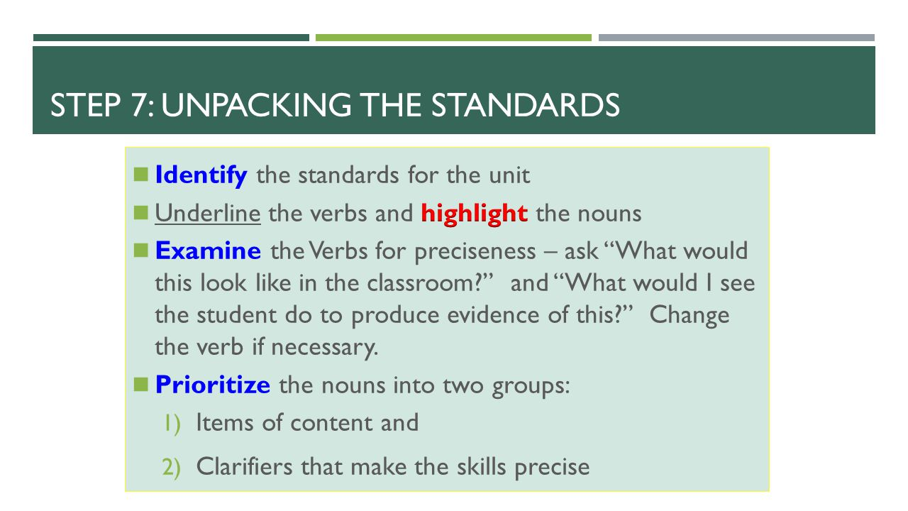 Step 7: Unpacking the Standards