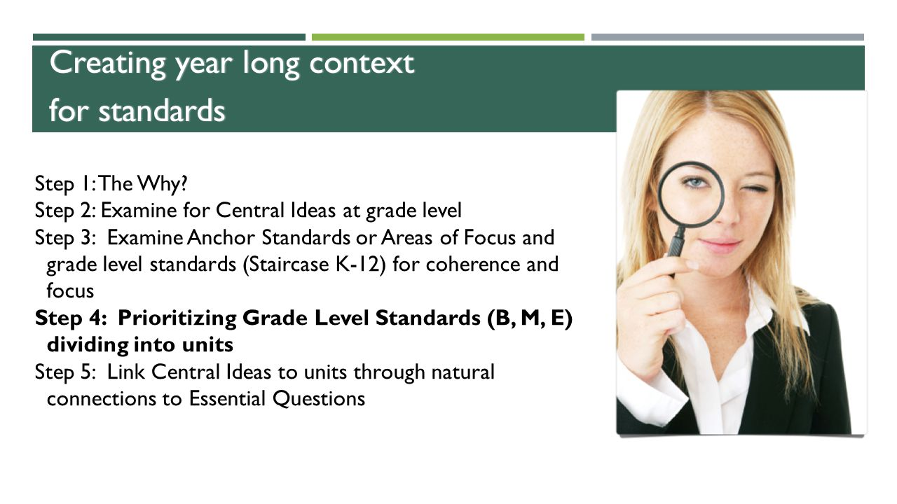 Creating year long context for standards