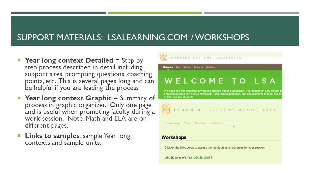 Support Materials: LSALearning.com / workshops