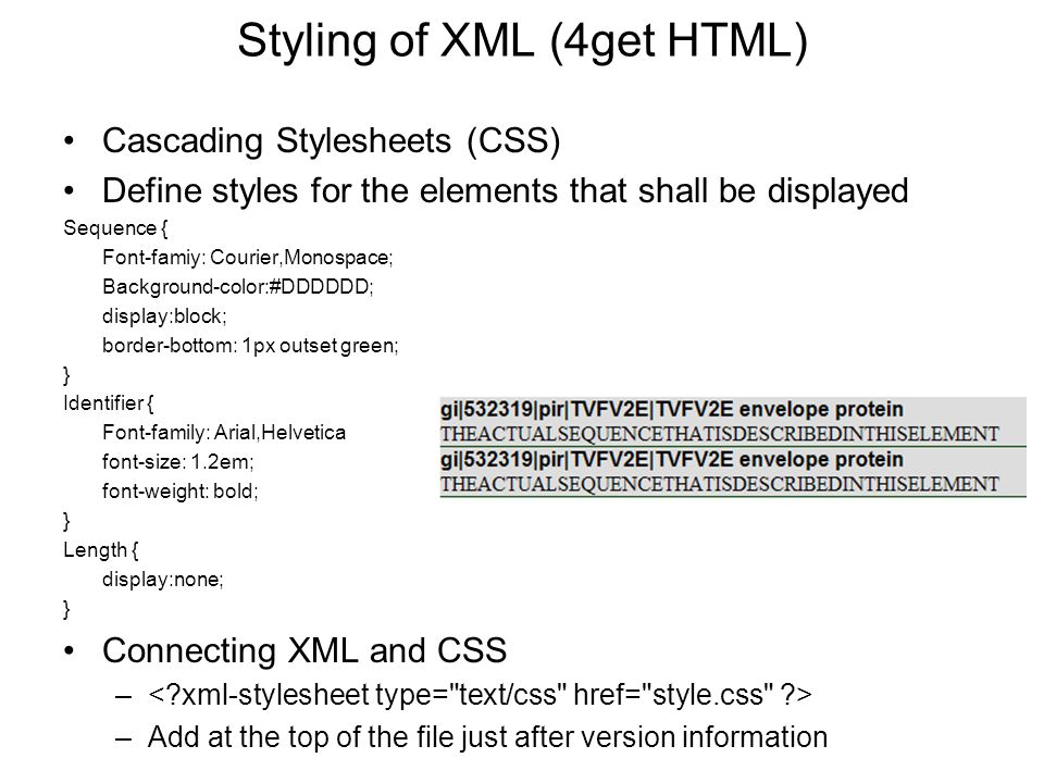 Styling of XML (4get HTML)