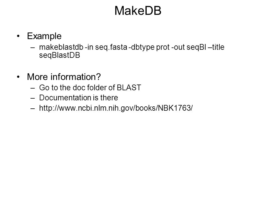 MakeDB Example More information