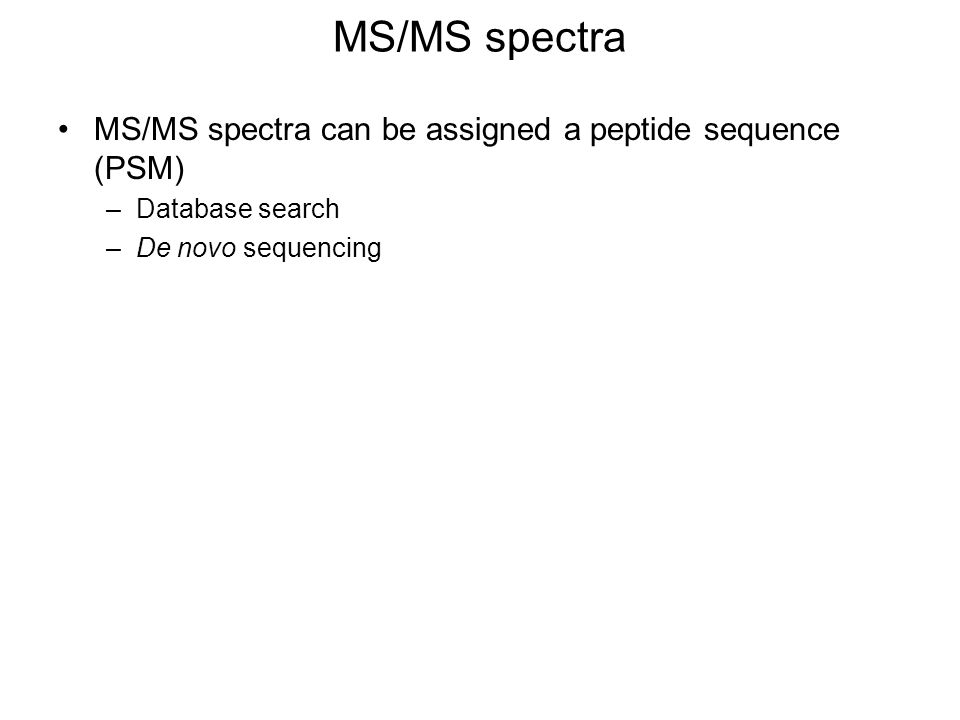 MS/MS spectra MS/MS spectra can be assigned a peptide sequence (PSM)