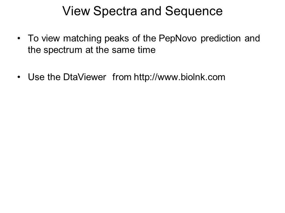 View Spectra and Sequence