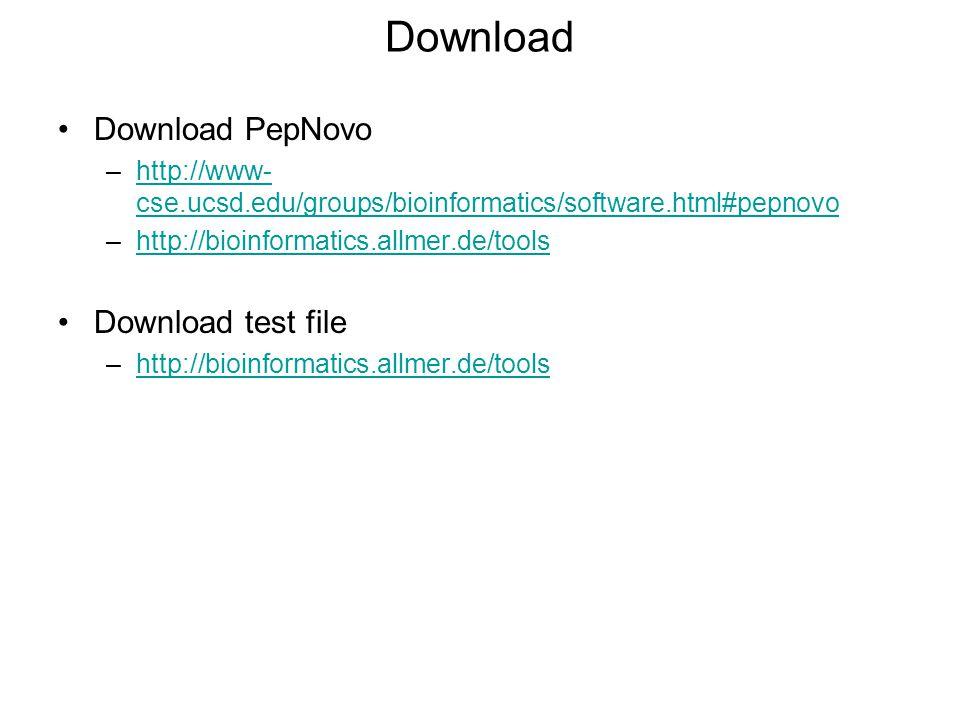 Download Download PepNovo Download test file