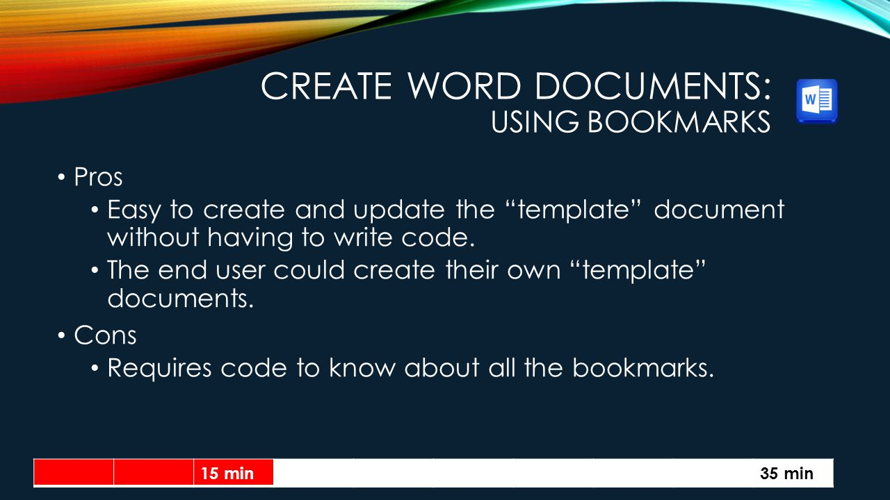 Create Word Documents: Using Bookmarks