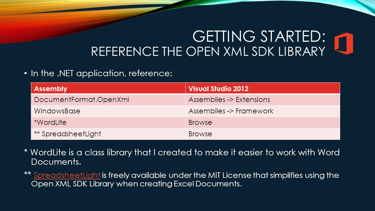 Getting Started: Reference the Open XML SDK Library