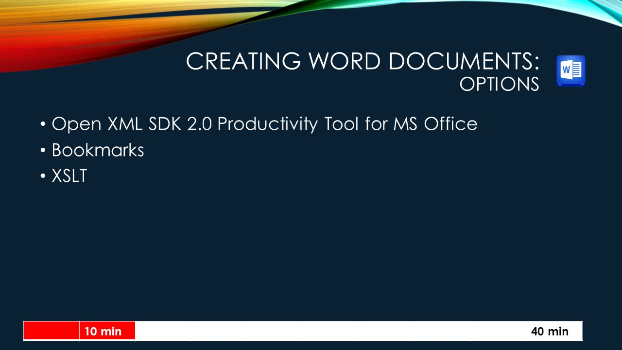 Creating Word Documents: Options
