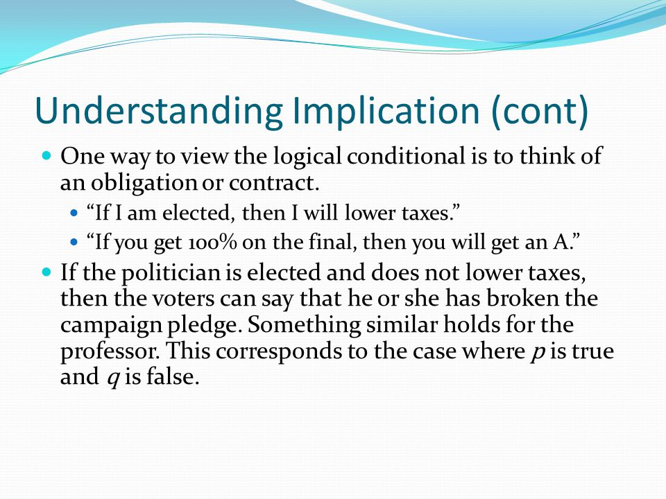 Understanding Implication (cont)