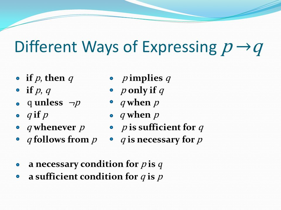 Different Ways of Expressing p →q