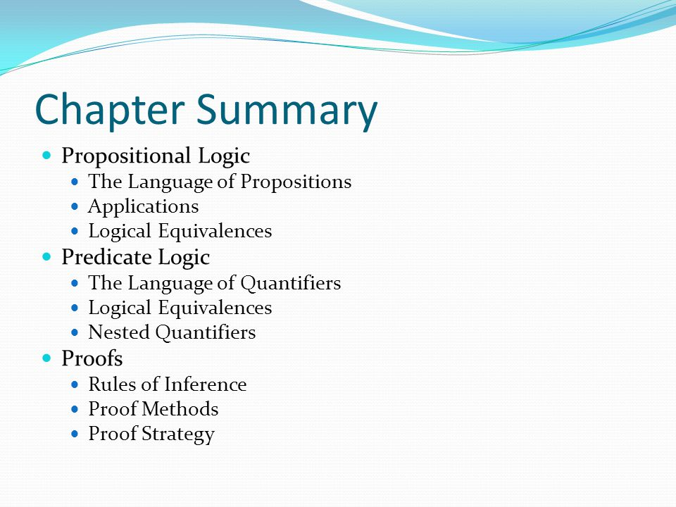 Chapter Summary Propositional Logic Predicate Logic Proofs