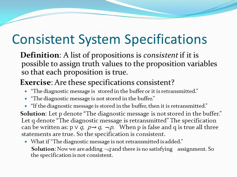Consistent System Specifications