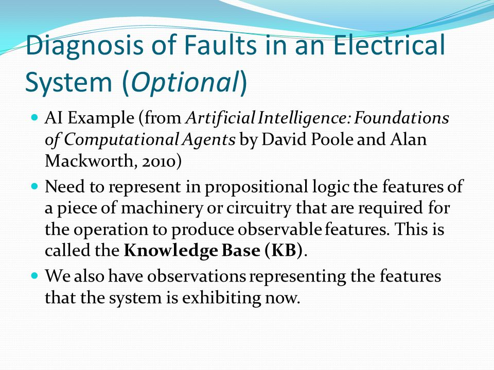 Diagnosis of Faults in an Electrical System (Optional)