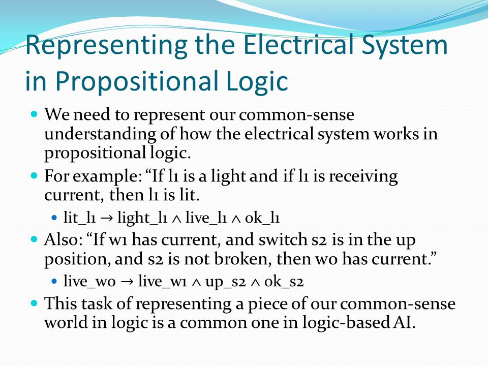 Representing the Electrical System in Propositional Logic