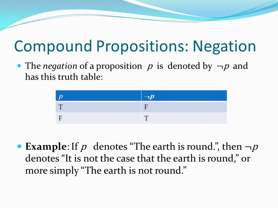 Compound Propositions: Negation