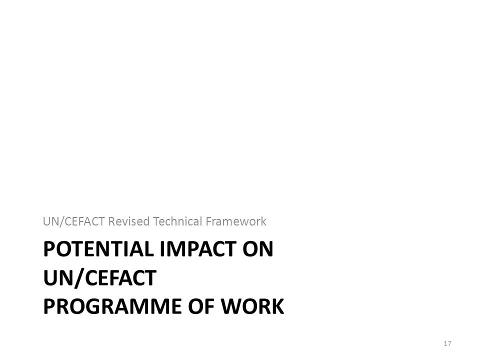Potential Impact on UN/CEFACT programme of Work