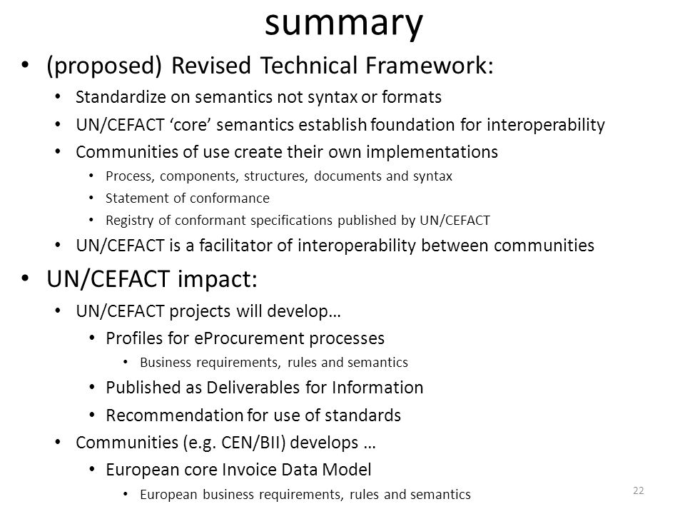 summary (proposed) Revised Technical Framework: UN/CEFACT impact: