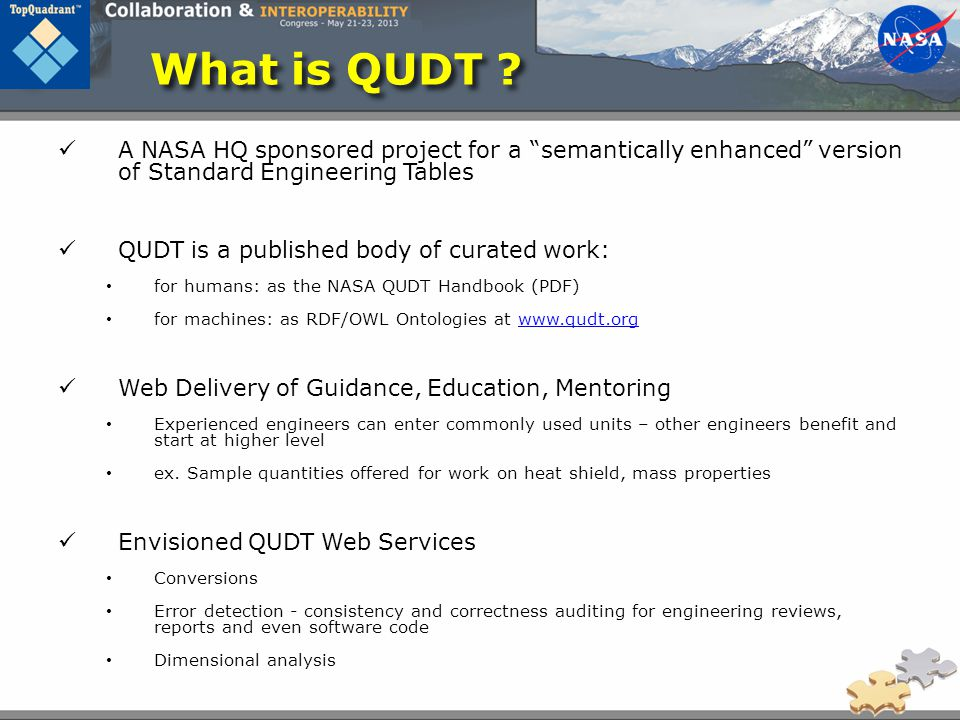 What is QUDT A NASA HQ sponsored project for a semantically enhanced version of Standard Engineering Tables.