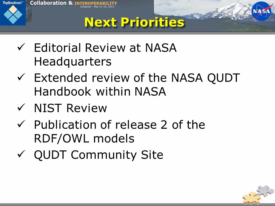 Next Priorities Editorial Review at NASA Headquarters