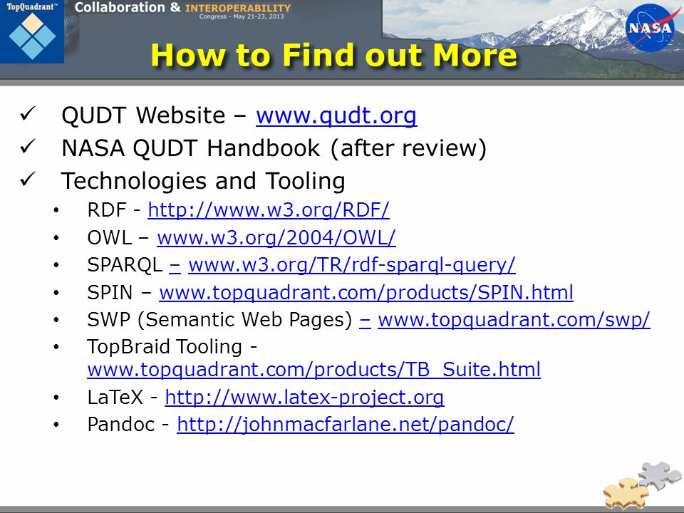How to Find out More QUDT Website – www.qudt.org