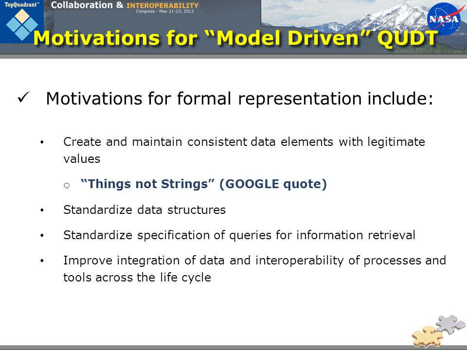 Motivations for Model Driven QUDT