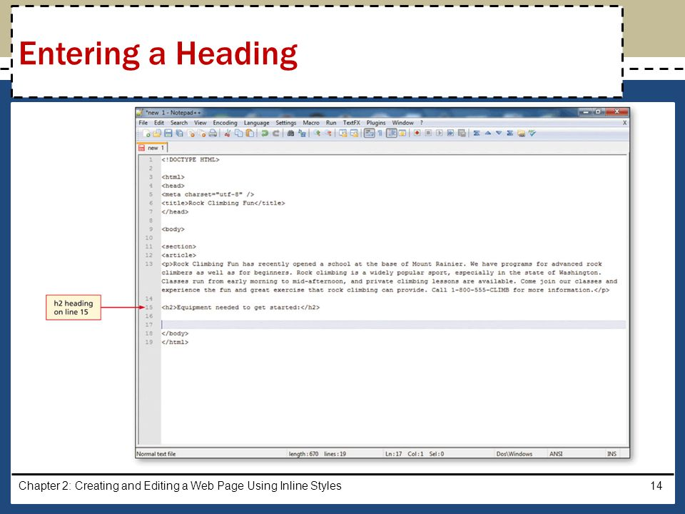 Entering a Heading Chapter 2: Creating and Editing a Web Page Using Inline Styles
