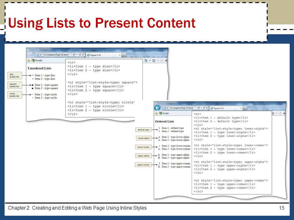 Using Lists to Present Content