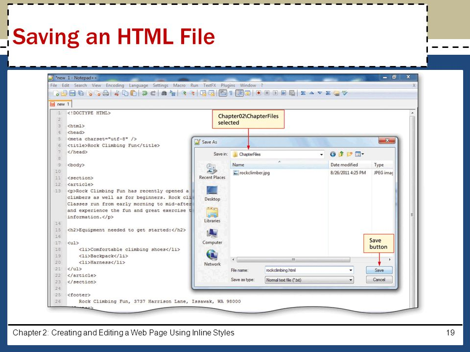 Saving an HTML File Chapter 2: Creating and Editing a Web Page Using Inline Styles