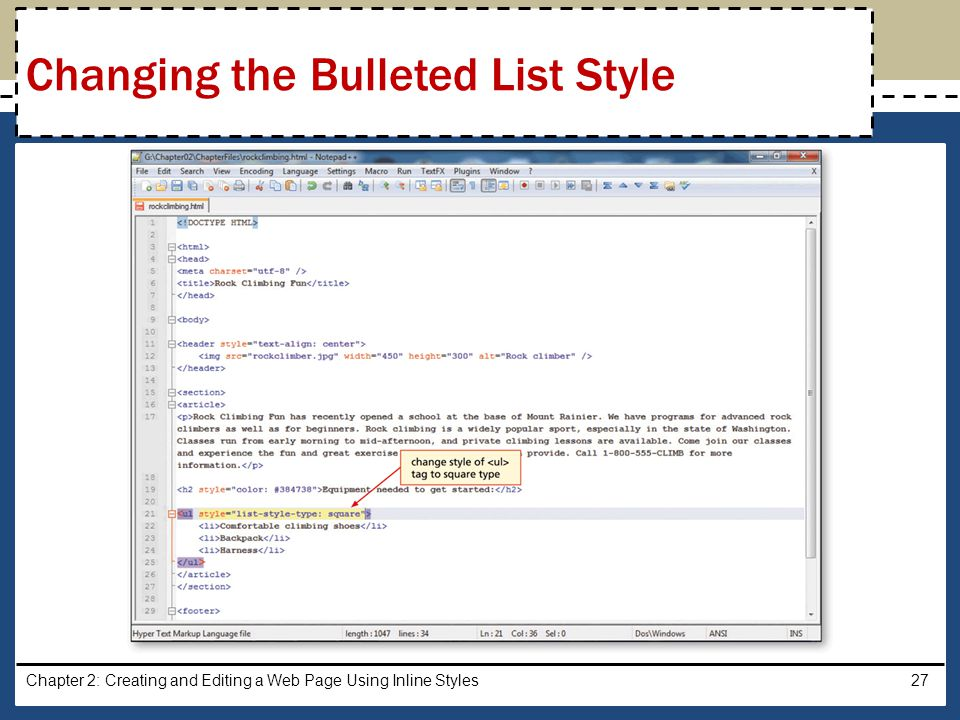 Changing the Bulleted List Style