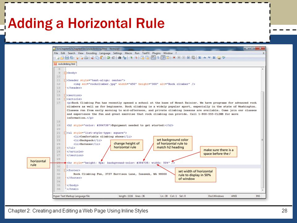 Adding a Horizontal Rule