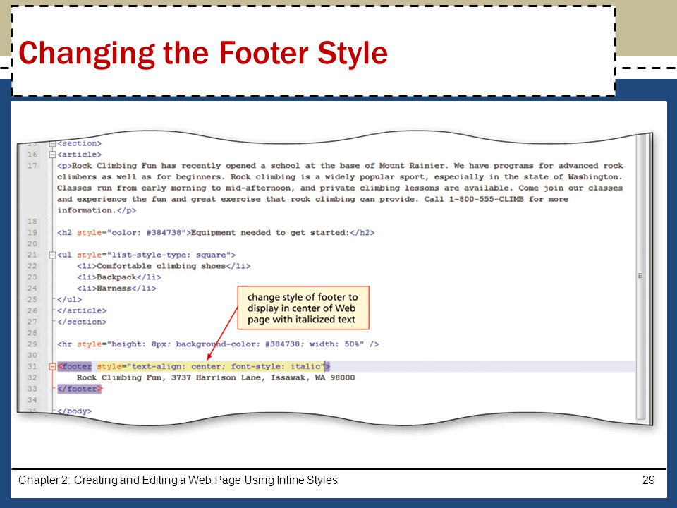 Changing the Footer Style