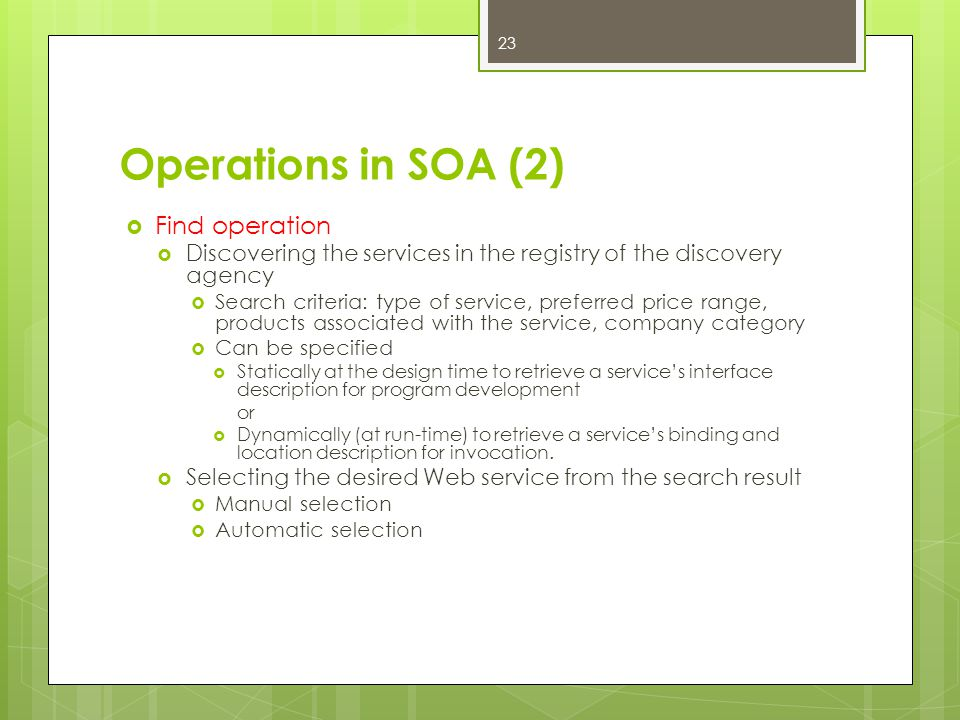 Operations in SOA (2) Find operation