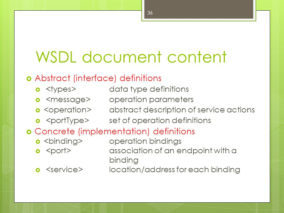 WSDL document content Abstract (interface) definitions