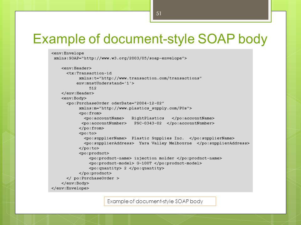 Example of document-style SOAP body
