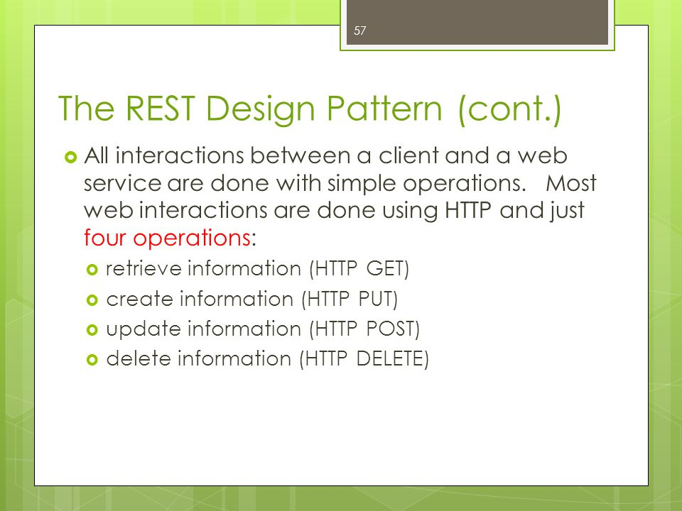 The REST Design Pattern (cont.)