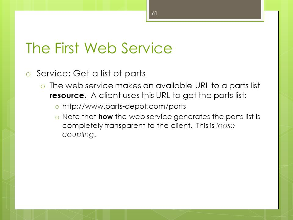 The First Web Service Service: Get a list of parts