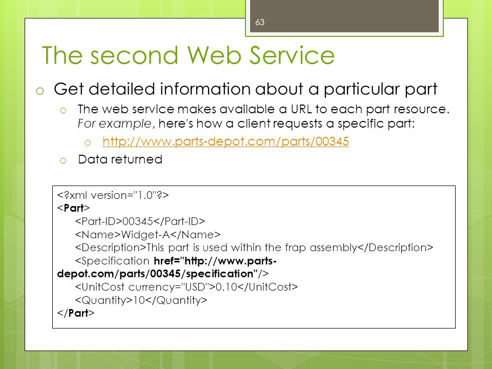 The second Web Service Get detailed information about a particular part.