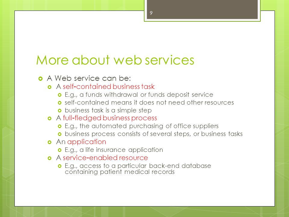 More about web services