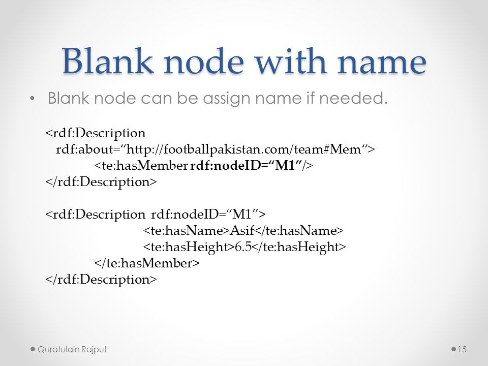 Blank node with name Blank node can be assign name if needed.