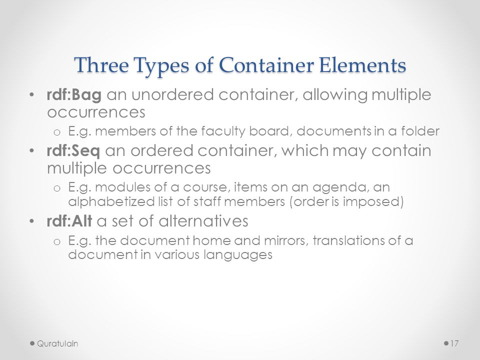Three Types of Container Elements