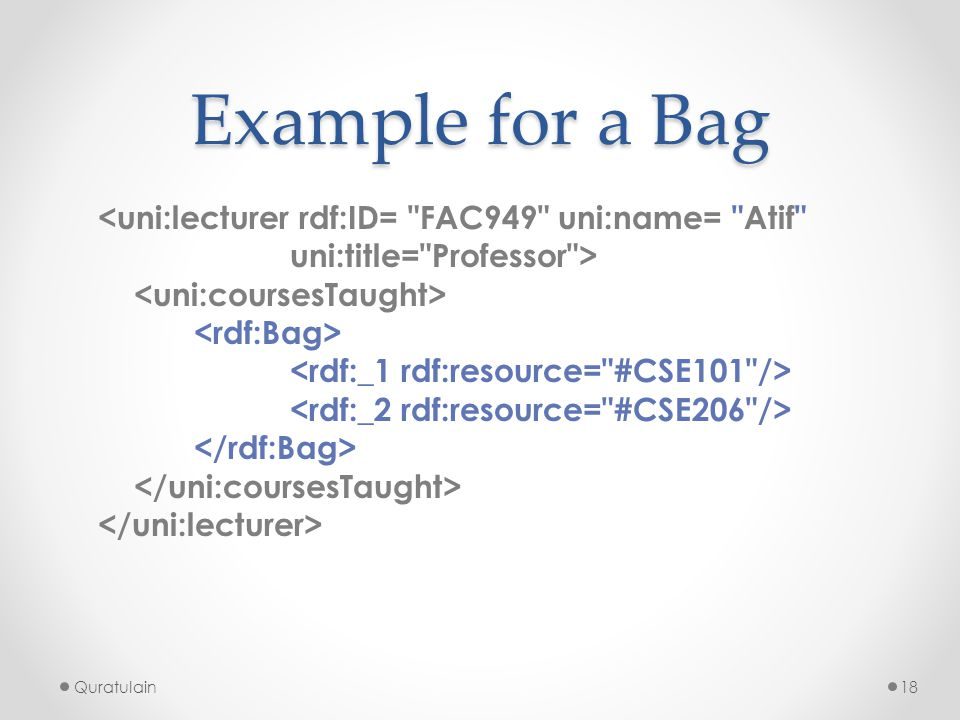 Example for a Bag <uni:lecturer rdf:ID= FAC949 uni:name= Atif