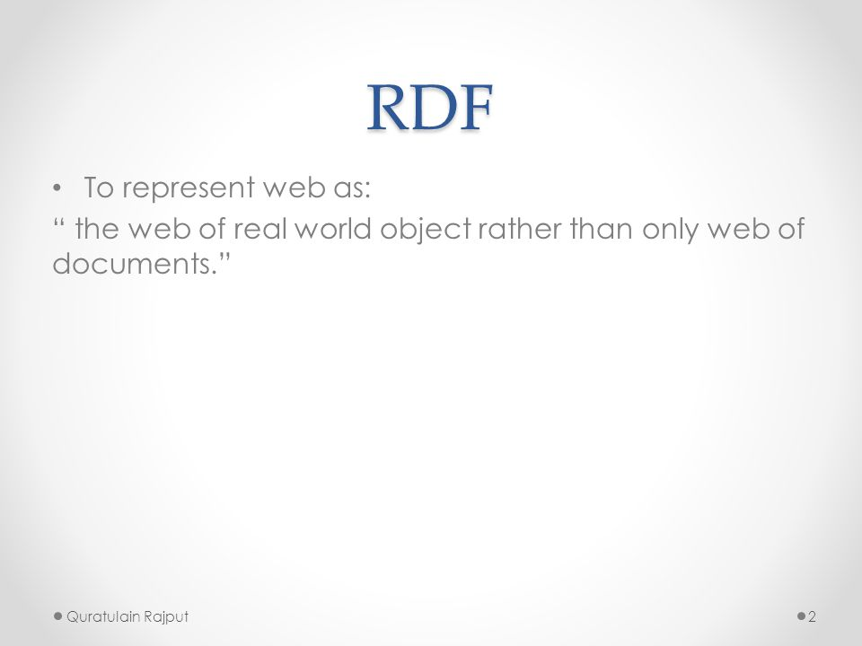 RDF To represent web as: